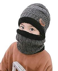 Wintermütze Warm Beanie Strickmütze und Schal,Mädchen/Jungen Beanie Mütze mit Loop Schal Set,Strickmütze Kaschmir Mütze und Loop Gestrickt Schal mit Fleecefutter