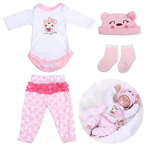 KINGDUO Rosa Puppen Kleidung Für 22 inch Wiedergeborene Babypuppe