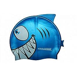 Aqua Speed Shark – Cuffia da nuoto per bambino, 100% silicone, elastica e adattabile, motivo squalo