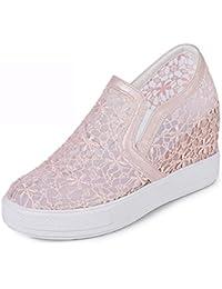 Easemax Damen Süß Gaze Mesh Hohle Spitze Plateau Loafers Sneakers Rosa 44 EU