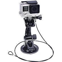 Smatree Supporto a ventosa +Acciaio Inossidabile Fune per GoPro Hero