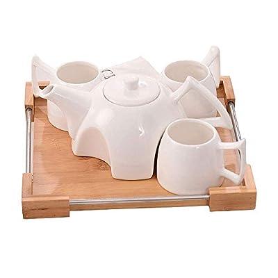 GuoYq Ensemble de Tasse en céramique créative, Maison Simple, Service à thé/Service à café/Plateau en Bambou/théière Blanche, Ensemble de 4 Tasses