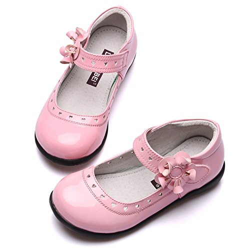 Oasap Girl's Velcro Strap Patent Leather Mary Jane Shoes pink