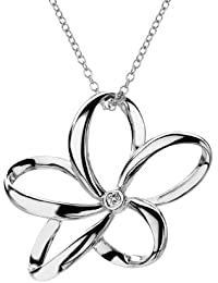 Hot Diamonds Paradise Open Petal Pendant with Sterling Silver Trace Chain of Length 40-45 cm