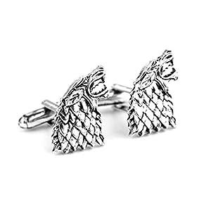 Par de gemelos, diseño de lobo Westeros Dire, Lobo, Casa Stark, Sigil, de Game Of Thrones 7