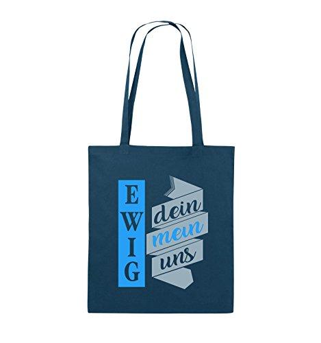 Comedy Bags - Ewig dein, ewig mein, ewig uns - Jutebeutel - lange Henkel - 38x42cm - Farbe: Schwarz / Weiss-Pink Navy / Eisblau-Hellblau