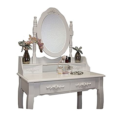 White Rose Dressing Table Makeup Desk dresser with Stool, 4 Drawers and Oval Mirror Bedroom