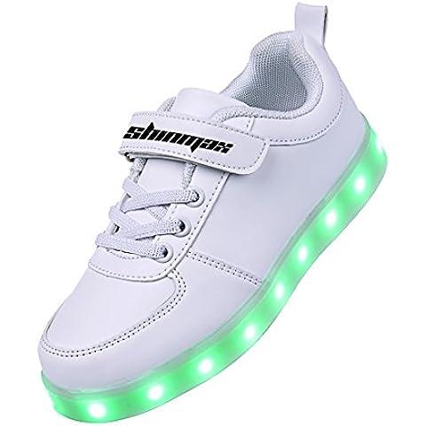 Shinmax Scarpe LED 7 Colori di Ricarica USB Kid Pattini