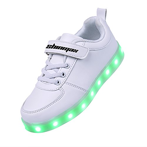 Shinmax 7 Colors USB Charging Kid Casual Shoes Flashing Sneakers of boy and girl for Childrens Day Christmas thanks giving (32, White)