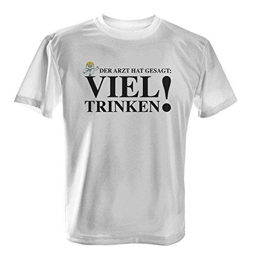 Der Arzt hat gesagt: Viel trinken! - Herren T-Shirt von Fashionalarm | Fun Shirt Spruch Party Feiern Alkohol Bier Spaß lustig Job Arbeit Krank Geschenk, Farbe:weiß;Größe:XL (Bier Trinken-shirt)