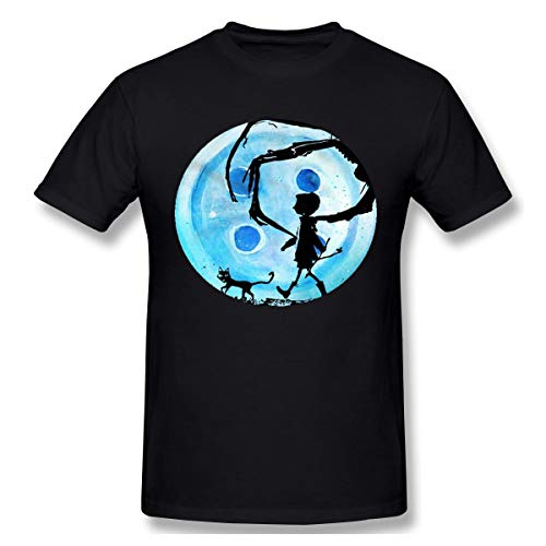 Knitkee Coraline Blue Full Moon Nightmare Cat Halloween Horror Button Herren Komfortabel T Shirt Black XL