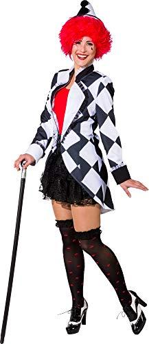 Kostüm Pierrot - narrenkiste O9978-44 schwarz-weiß Damen Pierrot Jacke Clown Kostüm Gr.44