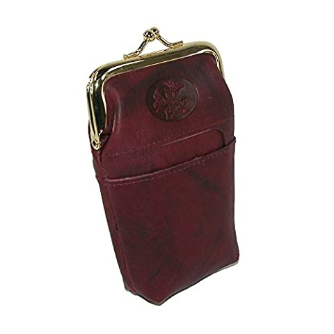 Buxton Women's Leather Framed Cigarette Case Wallet with Floral Emboss, Burgundy