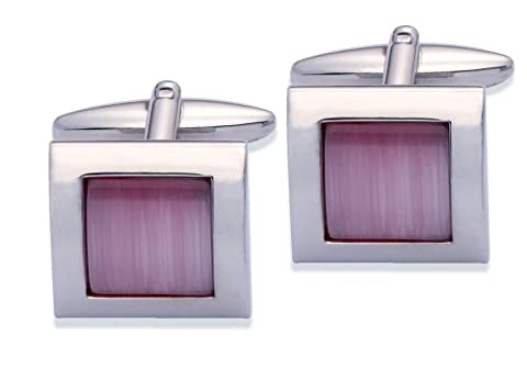 Code Red Men's Base Metal Rhodium Plated Cufflinks with Pink Colour Real Cats Eye Stones