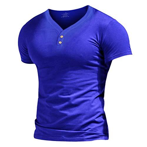 Musclealive Herren Henley Beiläufig Kurzarm T-Shirt Single Taste Knopfleiste Einfacher V-Ausschnitt Hemden Baumwolle