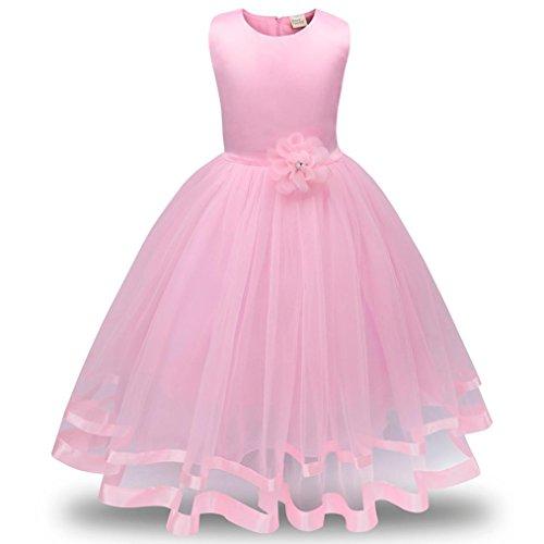 Party Dress Kindermädchen Blume Mädchen Prinzessin Brautjungfer Festzug Tutu Tüll Gown Party Brautkleid Kleider Maxikleid Cocktailkleid (110, Rosa) (Hochzeits-blumen-mädchen-kleider)