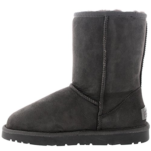 "Damen 8"" Twin Face Wildleder Australian Sheepskin Winter Schnee Regen Stiefel Grau"