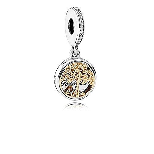 Lafeejewels charm albero della famiglia, per bracciali pandora, oro 18 ct con zirconia cubica e argento sterling 925 (life of tree)