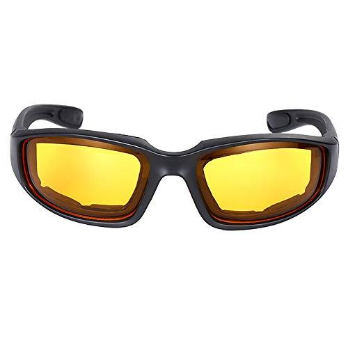 ljym88 Brille Motorradfahren Outdoor Sonnenbrillen Nachtfahrten Brillen PC Windschutz Radfahren Augenschutz(Gelb)