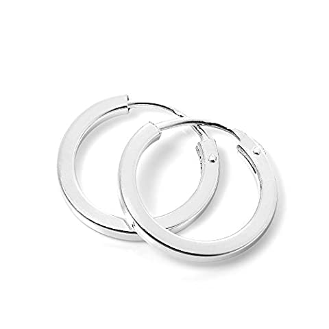 Plain Sterling Silver 14mm Square Sleeper Hoop