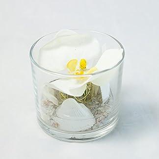 Centro de mesa con una orquídea blanca en un vaso redondo-línea de la boda-arreglo floral con una flor artificial