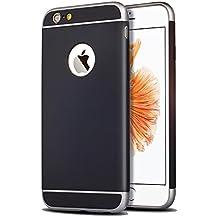 Funda para Apple iPhone 6 y 6S (4,7 pulgadas) 3 en 1 a prueba de golpes, extremamente delgada Funda protectora de parachoques trasero para Apple iPhone 6 y 6S negro