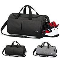 Sports Gym Duffel Bag, Astory 35L Foldable Travel Duffel Bag Water Resistant Sports Holdall Weekend Yoga Duffel Bag with Shoes Compartment & Wet Pocket Travel Luggage Bag for Man and Women, Black