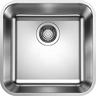 Blanco Supra 400-U 518201 Undermount Sink Unit for 45 cm Cabinets, with Manual Drainage Set, Brushed Silver Stainless Steel