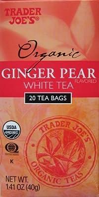 Trader Joe's Organic Ginger Pear White Tea, 20 Tea Bags (Pack of 2)