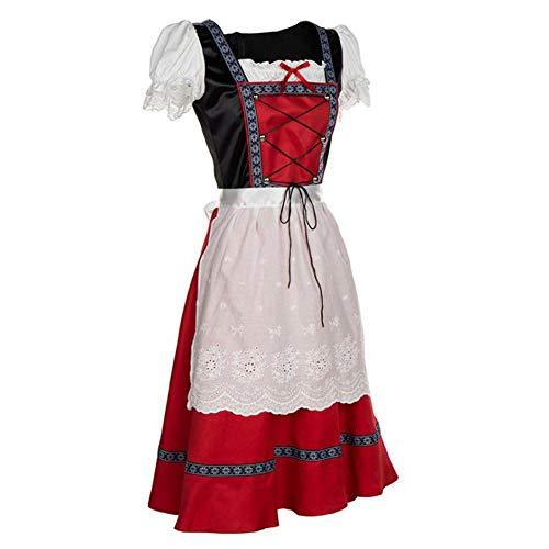 Kostüm Oktoberfest Irland - LaLaLa Frauen Oktoberfest Kostüm, Bierfest Kostüm Deutsch München Kleid Weißes Mittelarm Oberkleid Mit Schnürung,XXL