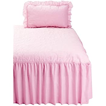The Bettersleep Company Fitted Traditional Quilted Bedspread and ... : pink quilted bedspread - Adamdwight.com