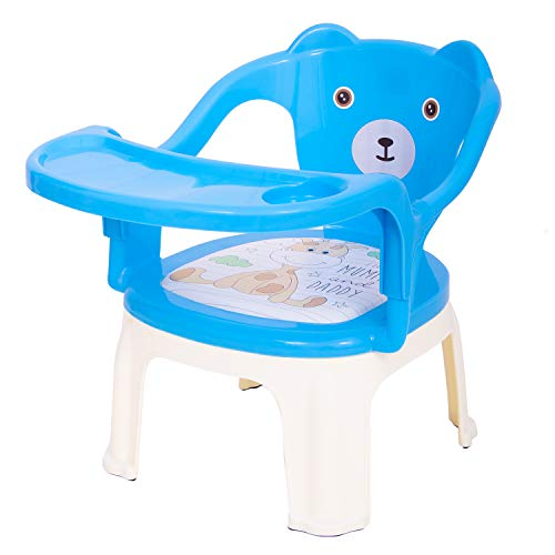 Baybee Baby Chair, With Tray Strong And Durable Plastic Chair For Kids/Plastic School Study Chair/Feeding Chair For Kids,Portable High Chair For Kids 1-7 Years (Blue)