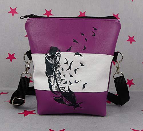 pinkeSterne ☆ Handtasche Umhängetasche Schultertasche Handmade Lila Weiß Fede