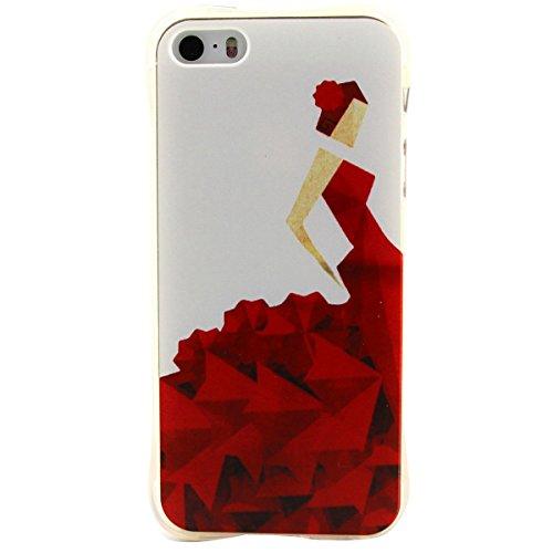 Apple iPhone 5/5S Custodia fit ultra sottile Silicone Morbido Flessibile TPU Gel Shell Custodia Case Cover Protettivo Protettiva Skin Caso Con Stilo Penna - Free to Fly(piuma) vestito rosso origami