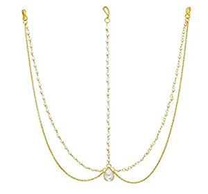 ITS Yellow Gold Pearl Bead Head Chain Bridal Maang Tikka Hair Jewellery for Women