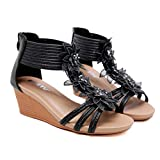 Lailailaily?Women Sandals?Sloping Heels Roman Summer?Style?Flowers?Slipper?Shoes