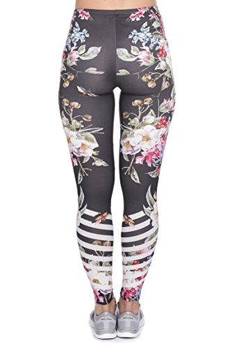 Bunte Damen Leggings Hose Einheitsgröße S-L | Mädchen Leggins bedruckt in verschiedenen Muster | Yoga Pants High Waist auch als Sporthose für Workout Vintage Flowers Stripes