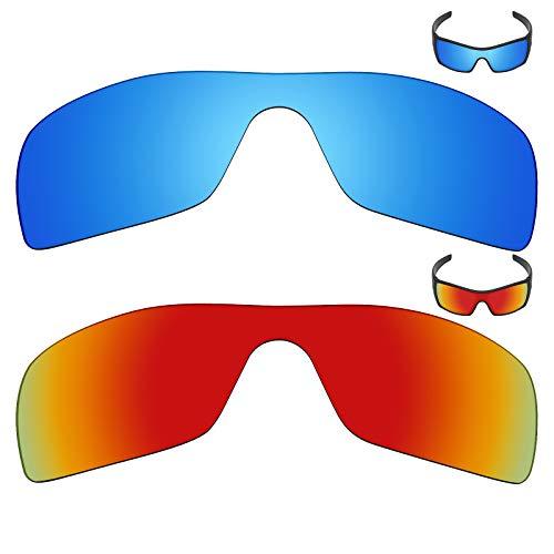 MRY 2Paar Polarisierte Ersatz Gläser für Oakley Batwolf Sonnenbrille-Reiche Option Farben, Ice Blue & Fire Red