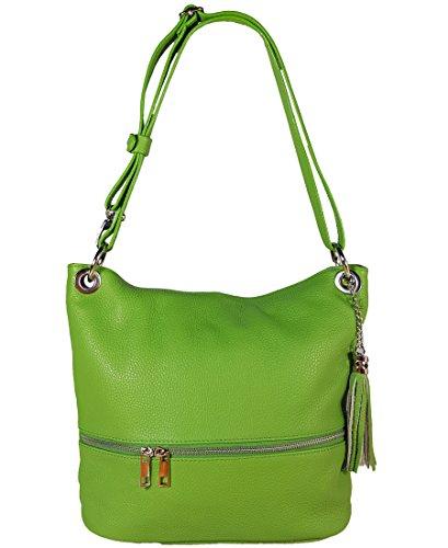 Freyday Echtleder Schultertasche in vielen Farben und verstellbarem Gurt Umhängetasche (Grün) -