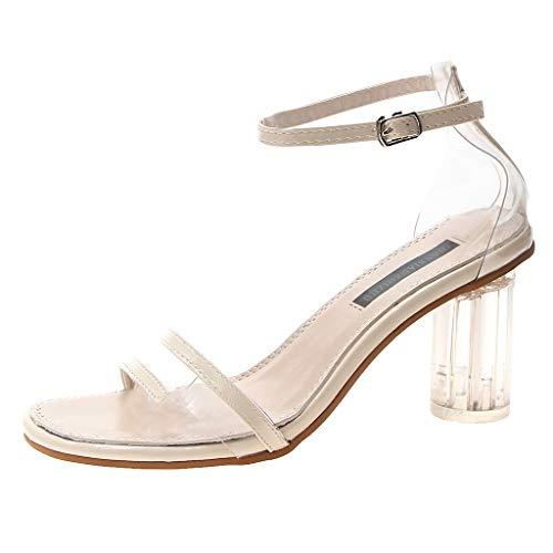 Tohole Frauen Damen High Heels Transparente Schuhe Sandale Mit Offenem Zehenbereich Sandalen Absatz Offene Abendschuhe Kristall Elegante Bohème Sandalen(beige,39 EU)