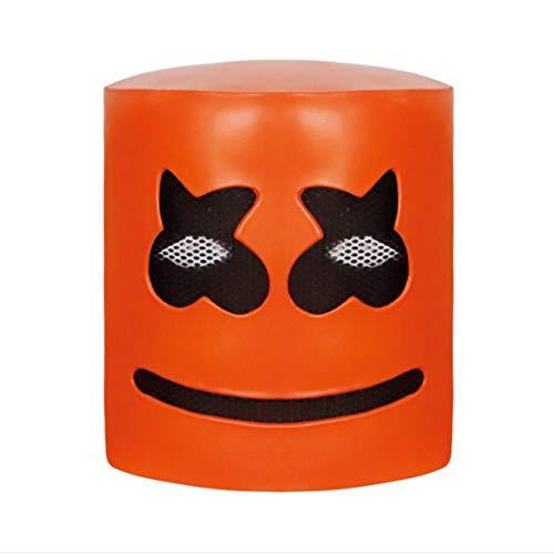 getherad Vollkopfmaske, Halloween Cosplay Replica Latex Helm, Orange Marshmello Helm DJ Neuheit Kostüm Party Music Festival ()