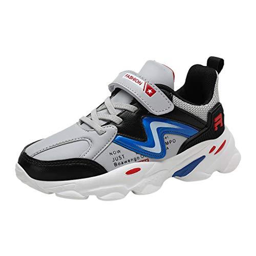 HDUFGJ Kinder Turnschuhe Jungen Sneaker Mädchen Sportschuhe Mesh Atmungsaktiv Klettverschluss Laufschuhe Kleinkind Schuhe Tuch Set Füße Freizeitschuhe35 EU(Grau)