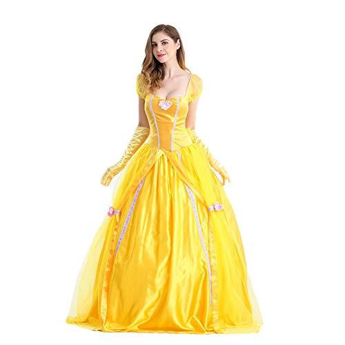 Kostüm Frauen Disney Belle - Fanstyle Halloween Kostüm Schönheit und Das Biest Belle Prinzessinenkleid Schneewittchen Kleid Gelbes Brautkleid