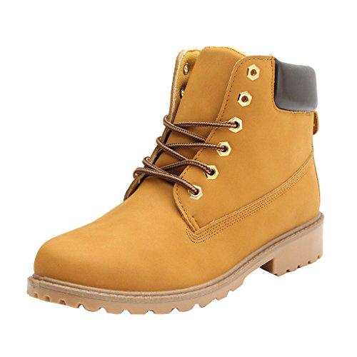 Meedot Worker Boots Damen Gefüttert Stiefeletten Flach Kurzschaft Martin Stiefel Gelb Outdoor Winterstiefel Schuhe Combat Boots Schnürschuhe Herbst Schnürstiefelette 38 (Stiefel Ferse Piraten)