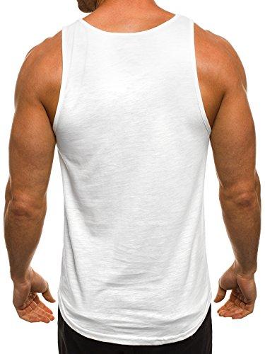 OZONEE Herren Tanktop Tank Top Tankshirt T-Shirt mit Print Unterhemden Ärmellos Weste Muskelshirt Fitness BREEZY 727 Weiß