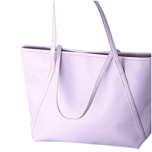 Donne Messenger Borse - SODIAL(R)Donne semplice pelle di maggiore Messenger Borse Shopping Bag NuovoColor:Nero viola
