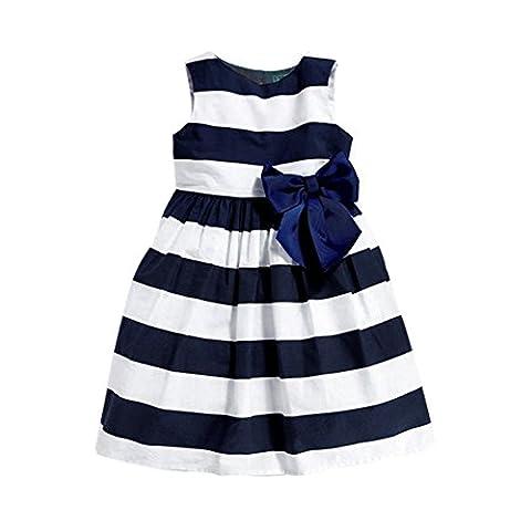 Balai Filles bébé bande bleue robe gros arc sans manches à col rond Rayures horizontales bleues princesse robe de soirée pour mariage 0-3ans
