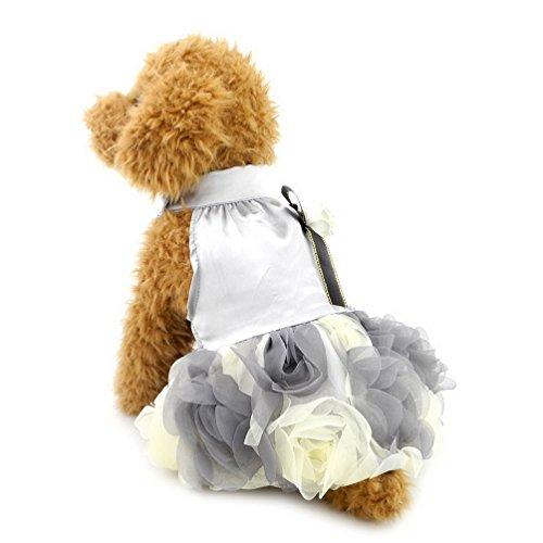 eid für kleine Hunde Luxus Floarl Kleid Satin Pet Hochzeit Party Kleid (Clearance Prinzessin Kostüme)