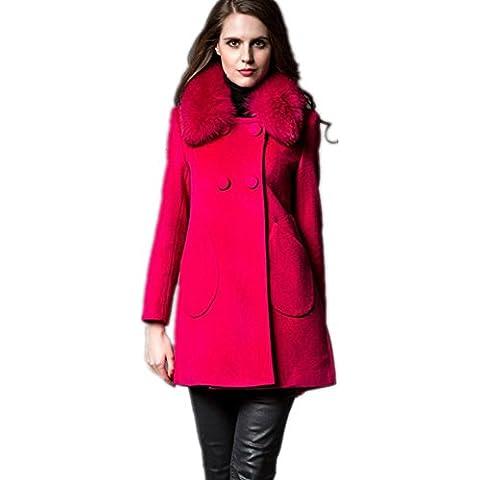 ZZHH Bolsillo doble Double-Breasted de la mujer ropa de abrigo de lana Cachemira . red . m