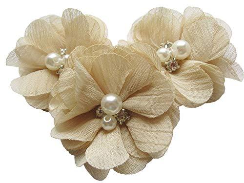 iffon Blumen mit Strass und Perlen Hochzeit Dekoration/Haar Accessoire Handwerk/Nähen Craft(Beige,5cm) ()